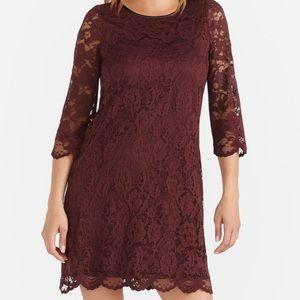 Burgundy lace shift dress